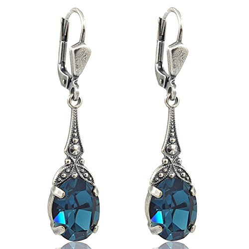 Jugendstil Ohrringe mit Kristallen von Swarovski® Blau Silber NOBEL SCHMUCK