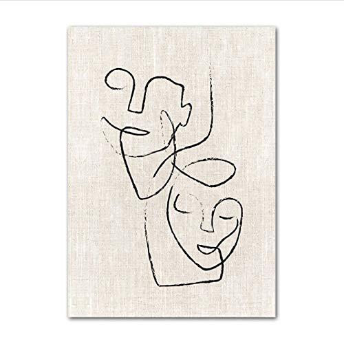 Zahuishile Pintura de Lienzo Cuadros modulares Moda Escaleras de niña Simple Línea Abstracta Vintage Carteles nórdicos Impresiones Arte de la Pared Decoración del hogar 40X60Cm Sin Marco