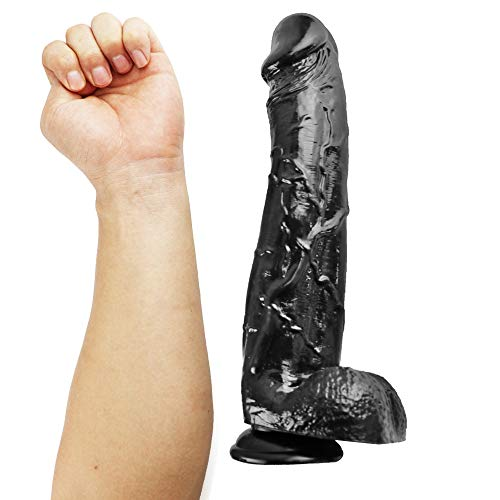 12 inch Black Díldɔ Huge Big Long Massager Wand with Powerful Suction Cup Hands Free for Women's Pleasure