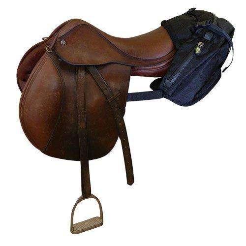 TrailMax Englisch/Endurance Pferde-Satteltasche für Trail-Riding mit 3 Fächern und Schnellverschluss-Kompressionsriemen, schwarz