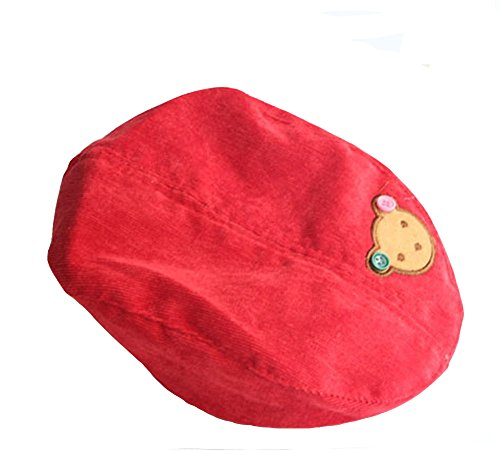Demarkt Baby Kinder Süß Cute Bär Pattern Design Kaschmir Berets Baskenmütze Schirmmütze Mütze Hüte Kappe Hut (Rot)