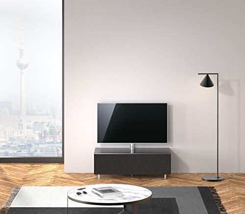 SPECTRAL®Just-Racks TV-Sound-Lowboard JRL1104T-BG mit Stoffklappe, inkl. TV-Halterung und Universal Soundbar Ablage, (B/H/T) 111x38x48cm, Black…