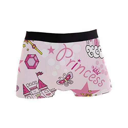 BONIPE Niedliche Prinzessin Castle Crown Pink Boxershorts Herren Unterwäsche Jungen Stretch Atmungsaktiv Low Rise Trunks S Gr. L, mehrfarbig