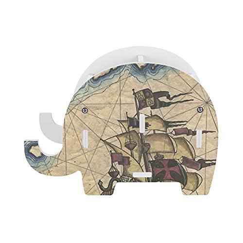 Capitán náutico titular de madera elefante lápiz extraíble pluma taza suministros organizador hogar oficina decoración con teléfono celular soporte