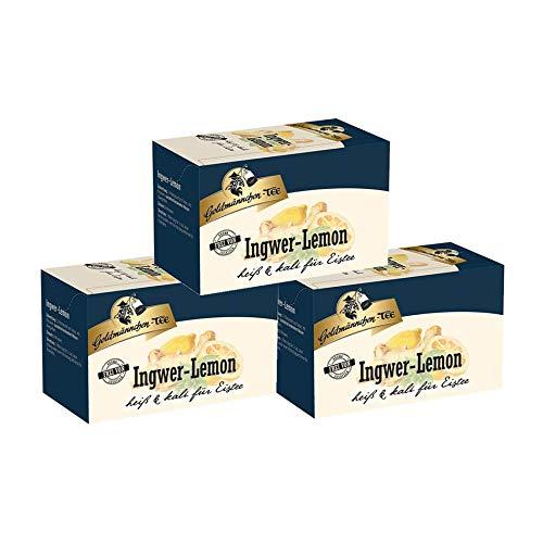 Goldmännchen Tee Ingwer-Lemon-Tee, 20 einzeln versiegelte Teebeutel, 3er Pack (3 x 30 g)