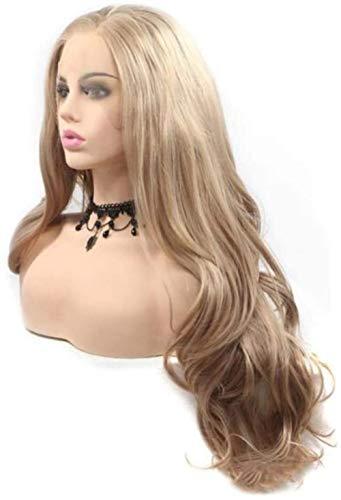 Peluca rubia larga de alta temperatura, onda larga ondulada, peluca sintética rubia, peluca rizada, peluca de pelo, peluca de cosplay, niña, fiesta, disfraz de uso diario, actor estrella ancla-A