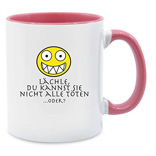 Shirtracer Tasse mit Spruch - Emoticon - Lächle du Kannst sie Nicht alle töten - Unisize - Rosa - lächle du Kannst sie Nicht alle töten Tasse - Q9061 - Tasse für Kaffee oder Tee