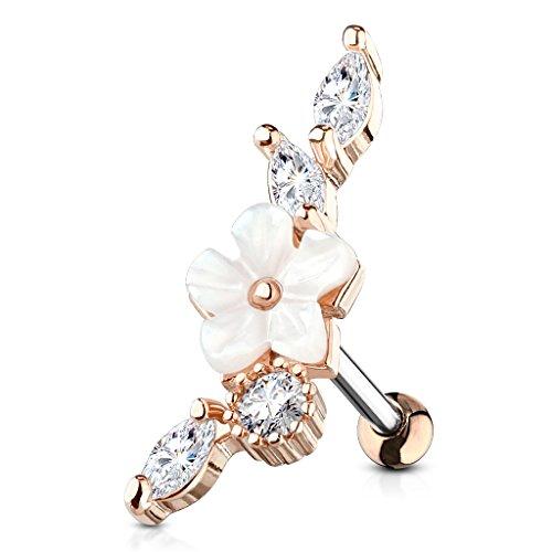 BlackAmazement Kultpiercing - Piercing per trago, helix, fiorio/fiore, perla e vite, con zirconi cubici e argento e Acciaio inossidabile, colore: Oro rosa, cod. -