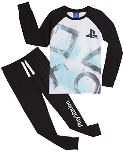 PlayStation Schlafanzug Jungen, Pyjama Kinder Junge, 100% Baumwolle Lang PJ Jungs und Teenager, Zweiteiler Schlafanzug Mädchen mit PS4 Logo, Hausanzug Kleidung, Geschenke für Videogamers (13-14 Jahre)