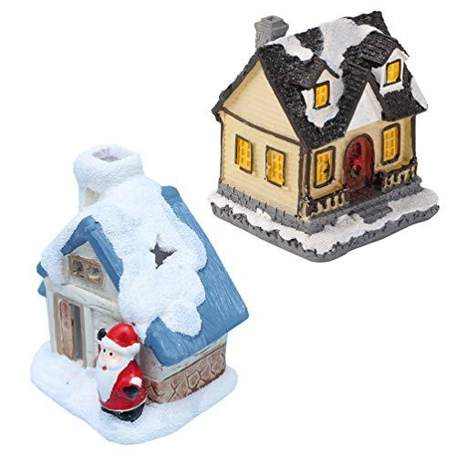 Homoyoyo 2 Unids Historia de Navidad Casa de Pueblo Iluminar Mini Escena Casa Iluminada Casas de Nieve Figuritas Accesorios...