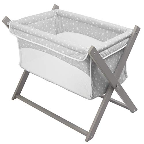 Star Design Clair de Lune Grey Folding Breathable Crib - Safe Baby Space -...