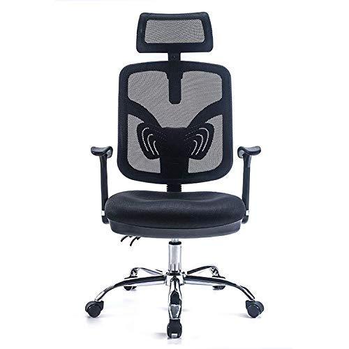 Silla de oficina, silla giratoria, cómoda silla de oficina ergonómica, silla con soporte lumbar ajustable, silla de oficina hasta 110 kg, reposacabezas, reposabrazos, función mecedora