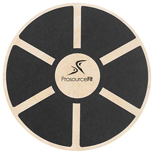 ProsourceFit Wooden Balance Board Non-Slip Wobble Core Trainer 15.75in Diameter with 360 Rotation for Stability Training, Full Body Exercises, Physical Therapy, Black