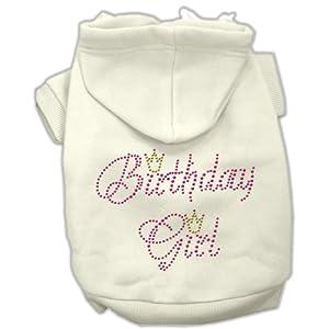 Mirage Pet Products 12-Inch Birthday Girl Hoodies, Medium, Cream