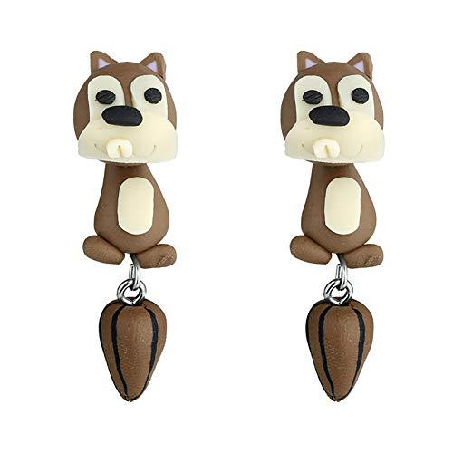 Cupcinu Ohrringe kreative Persönlichkeit niedliche weiche Keramik kleine Eichhörnchen Ohrringe weiblichen selbst gemachten handgemachten Schmuck size 4.5 * 1.4cm (Squirrel 1)