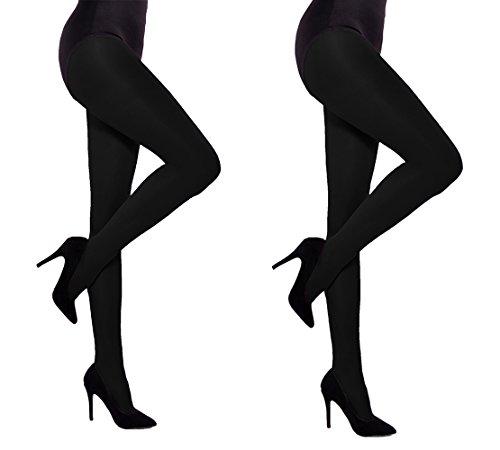 Dikke Opaque Vrouwen Panty 60 denier Aurellie - 2 PACK Zwart