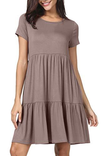 Short khaki colored swing dress with ruffles