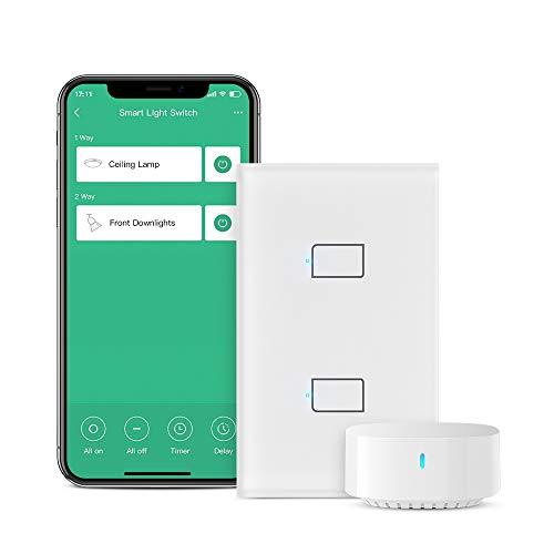 BroadLink Smart Touch Wall Switch, interruttore a filo singolo da 2 gang, nessun neutro o condensatore richiesto, funziona con Alexa e Google Home, hub richiesto(Con Hub)