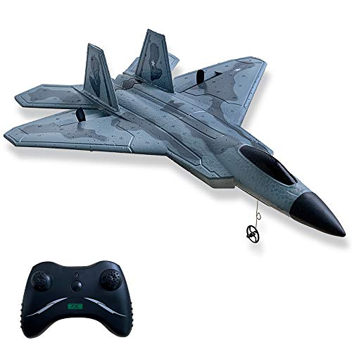 HAWK'S WORK 2 CH RC Airplane, F-22 RC Plane Ready to Fly, 2.4GHz Remote Control Airplane, Easy to Fly RC Glider for Kids & Beginners