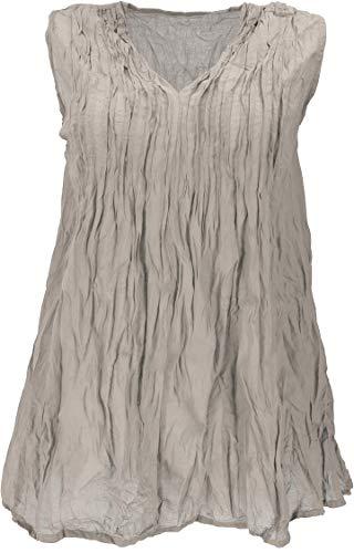 GURU SHOP Krinkelbluse, Blusentunika, Krinkelbluse, Damen, Taupe, Baumwolle, Size:40, Blusen & Tunikas Alternative Bekleidung