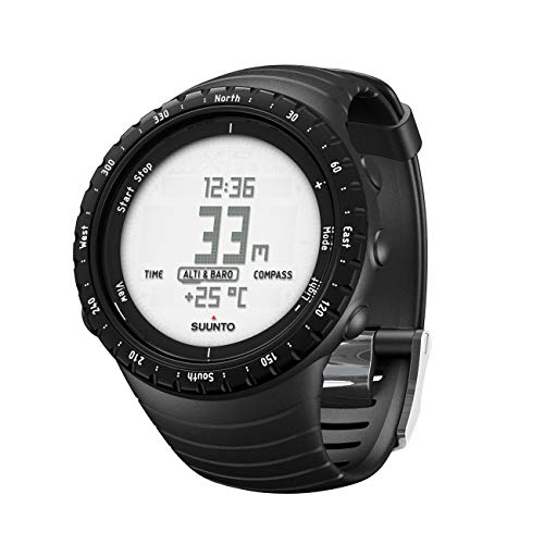 SUUNTO Core Regular Black Digital Display Quartz Watch, Black Elastomer Band, Round 49.1mm Case