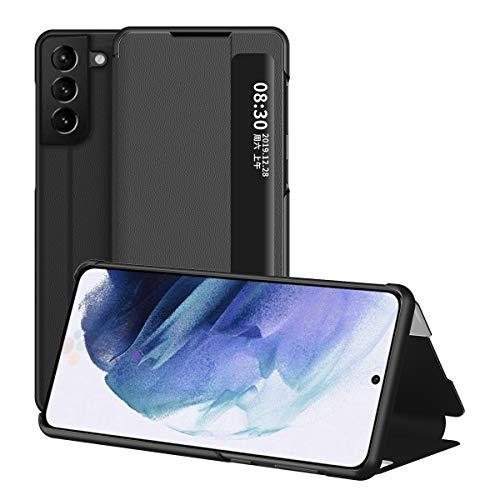 Samsung Galaxy S21 5G Hülle, Midcas Klapphüllen mit Sichtfenster Smart View Leder Tasche mit Standfunktion Schutzhülle für Samsung Galaxy S21 5G Schwarz