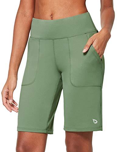 BALEAF Women's 10'' High-Waisted Bermuda Shorts Running Athletic Yoga Long Shorts Lounge Workout Pockets Olive Green Size S