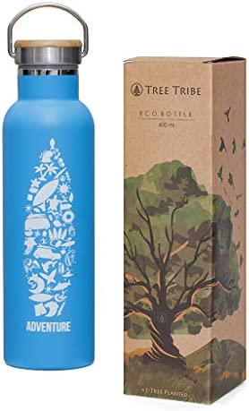 Tree Tribe Stainless Steel Blue Water Bottle 20 oz Adventure Collage Indestructible BPA Free product image