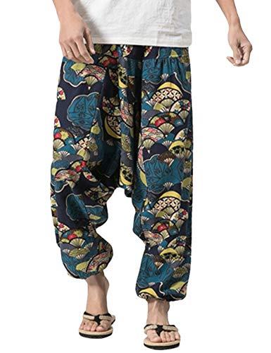 Mannen Damesboho Hippie Baggy Harembroek Met Wijde Pijpen En Los Kruis Linnen Aladdin Sarouel-broek Elastische Taille