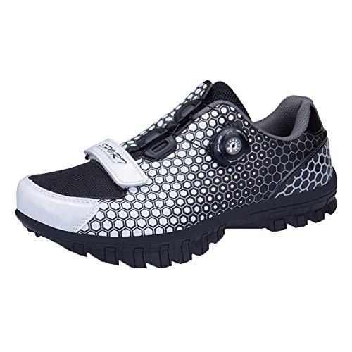 Shoes Zapatos de MTB, Hebilla Bicicleta los Hombres del cordón de Zapatos de Acero Que Gira rápidamente Zapatillas de Ciclismo al Aire Libre, Zapatos de autobloqueo Transpirables Ligeros -LXZXZ