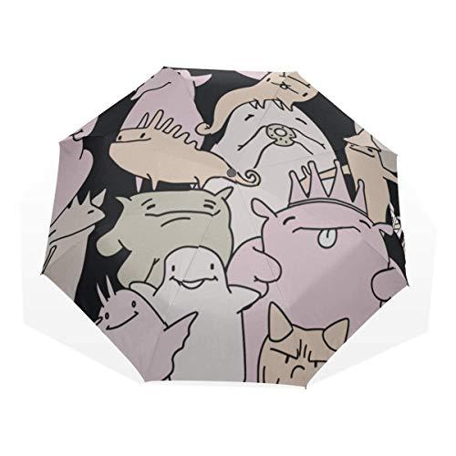 Womens Art Fashion Block Comic 3-Fach Kunst Regenschirme (Regenschirm für Jungen Faltschirm Faltbarer Regenschirm für Reisen