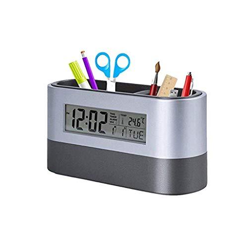 XYZMDJ Desktop-geheugen-veren-houder gereedschap naamkaarthouder container met digitale wekker-timer-kalender temperatuur-thermometer