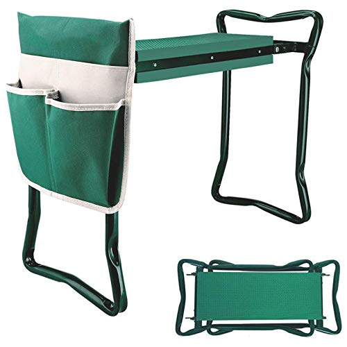 BDL Garden Kneeler Seat with Upgraded Thicken Kneeling Pad and 1 Large Tool Pouch Foldable Stool 330lb CapacityProtects Your Knees Clothes from Dirt amp Grass Stains