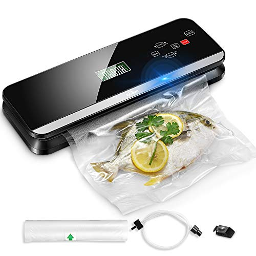 New Upgraded Vacuum Sealer Machine | Automatic Vacuum Air Sealing System For Food Preservation w/Starter Kit | Two Speeds | Touch Screen LCD | Dry & Moist Modes | Compact Design