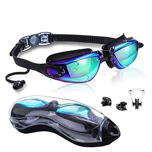 SGODDE Gafas de Natación, Gafas Piscina Anti-Vaho Impermeable Anti-UV Polarizada, Correa Ajustable Comodidad, conFunda/Estucha, Clip para la Nariz, Tapones para Los Oídos, Gafas de Natacion Adulto