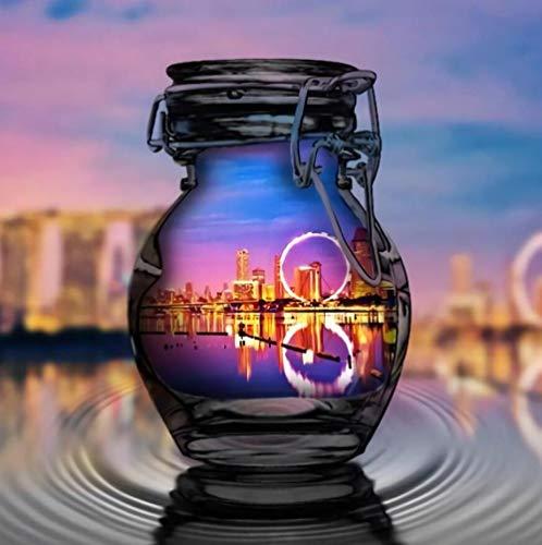 AMDPH Bild Der Stadtnachtszene In Einer Flasche DIY 5D Diamond Painting Kits, Vollbohrer Round Diamond Crystal Gem Arts Painting Für Schlafzimmer, Esszimmer Und Heimdekoration