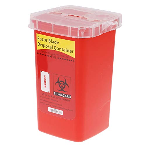 Mcree Disposal Blade Container Portable Sharps Container Barber Razor Blade Disposal Collect Box(Red)