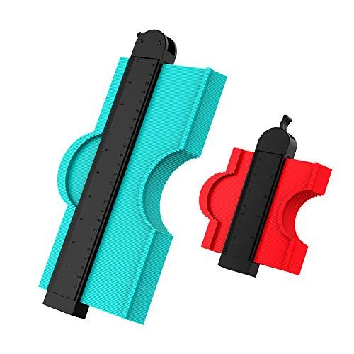型取りゲージ ロック付き コンターゲージ 多機能 高精度 曲線定規 DIY用測定工具 ロファイルゲージ ABS 目盛付き 2点セット