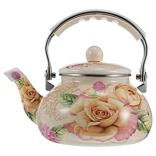 Yardwe 2. 4L Ceramic Enameled Teapot Vintage Whistling Tea Kettle Floral Printing Hot Water Boiling Pot for Kitchen Stovetop