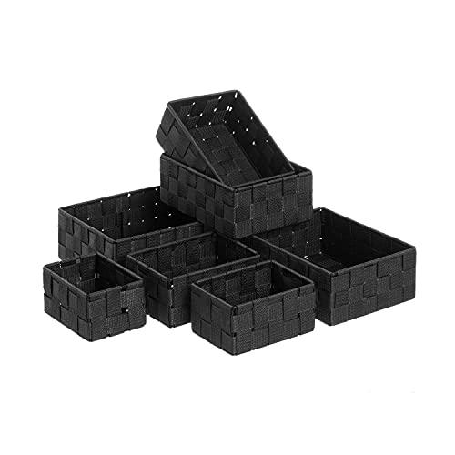 TIENDA EURASIA Cestas de Almacenaje - Juego de 7 Cestas de Ordenación para Baño - Estructura Metálica y Tela Trenzada de Polipropileno (Negro)