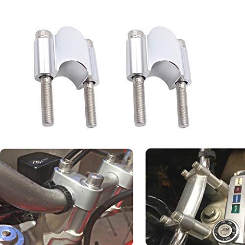 "Silver 7/8"" Handlebar Risers 30mm Height Mount Clamp Kit Compatible with Motorcycle ATV Kawasaki Honda Suzuki Yamaha Dirt Bike"