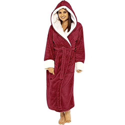Albornoz Alargado de Felpa de Invierno para Mujer Suave Cómodo Pijamas Bata De Estar En Casa Albornoz De Ducha con Capucha Y Cinturón Cálida Y Acogedora riou