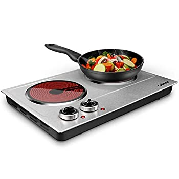 CUSIMAX 1800W Ceramic Electric Hot Plate for Cooking Dual Control Infrared Cooktop Portable Countertop Burner Glass Plate Electric Cooktop Silver Stainless Steel-Upgraded Version