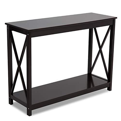 Leisure Zone brauner Konsolentisch aus Holz, für PC / Computer / Arbeitszimmer / Schreibtisch mit Regal / Stauraum / Flur / Schreibtisch Größe: B 110 x T 38 x H 80 cm