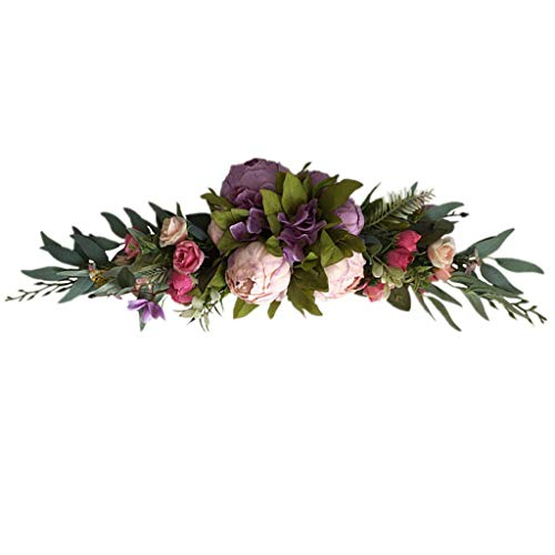 CCLLA Artificial Rose Flower Swag with Fake Roses Green Leaves for Home Wedding Arch Door Decoration
