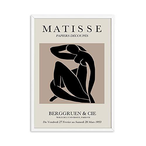 Pintura abstracta de Henri Matisse, ilustración minimalista, arte de pared, impresión, póster Retro, pared beige, lienzo sin marco, pintura F 70x100cm