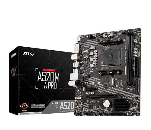msi A520M-A PRO Scheda Madre AMD Ryzen 3000 3rd Gen AM4, DDR4, M.2, USB 3.2 Gen 1, HDMI, Micro ATX