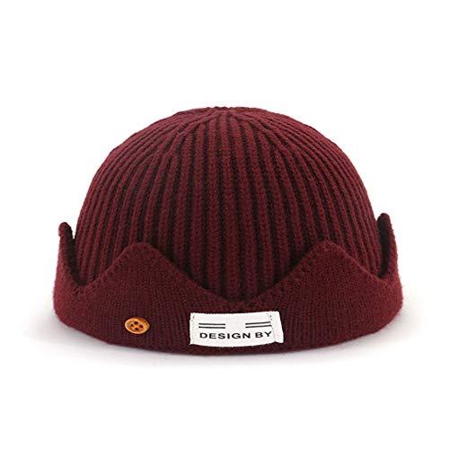 ShanShan Mu Knit hoed Koreaanse versie van de herfst en winter paar wollen meloen cap warme hoofddeksels mannelijke en vrouwelijke hoed Adult Rode Wijn