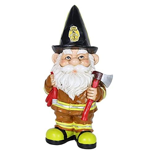 LASULEN Feuerwehrmann Fred GNOME Gartenstatue, Feuerwehrmann GNOME Statue, Gartenzwerge Ornamente, Harz handbemalte GNOME Gartendekorationen, für Outdoor Indoor Rasen Patio Yard