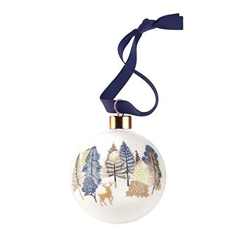Portmeirion Home & Gifts - Pallina di Natale con cervi, in ceramica, multicolore